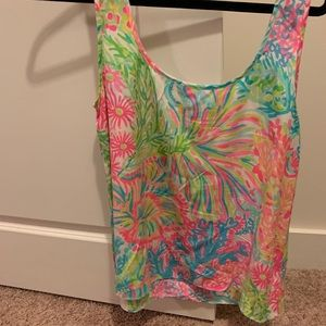 LILLY PULITZER NEON TANK // M// Lovers Coral